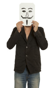 Man with the painted Guy Fawkes mask