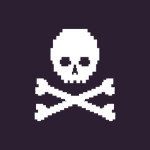 vector pixel illustration - white skull on dark background