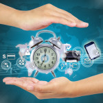Business hand showing map and icon web symbol on hand